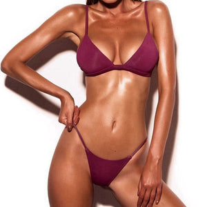 Classic Two-Piece Solid Wine Red Brazilian Women's Bikini Swimsuit - Aspire Activewear