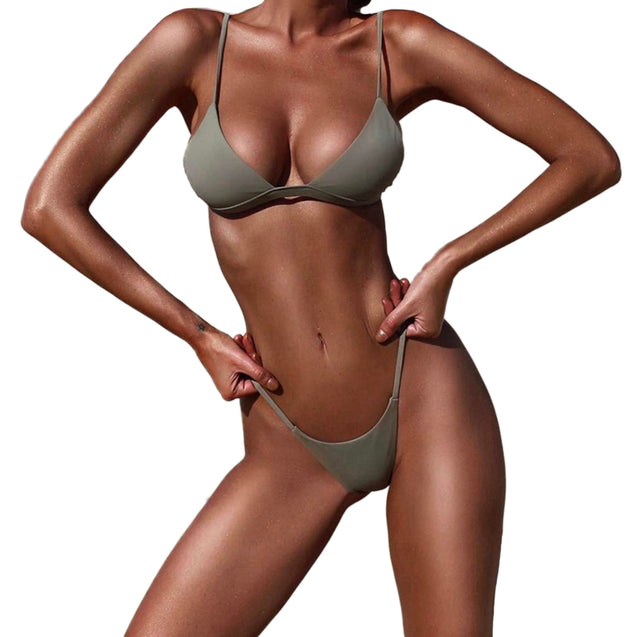 Classic Two-Piece Solid Green Brazilian Women's Bikini Swimsuit - Aspire Activewear