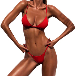 Classic Two-Piece Solid Red Brazilian Women's Bikini Swimsuit - Aspire Activewear