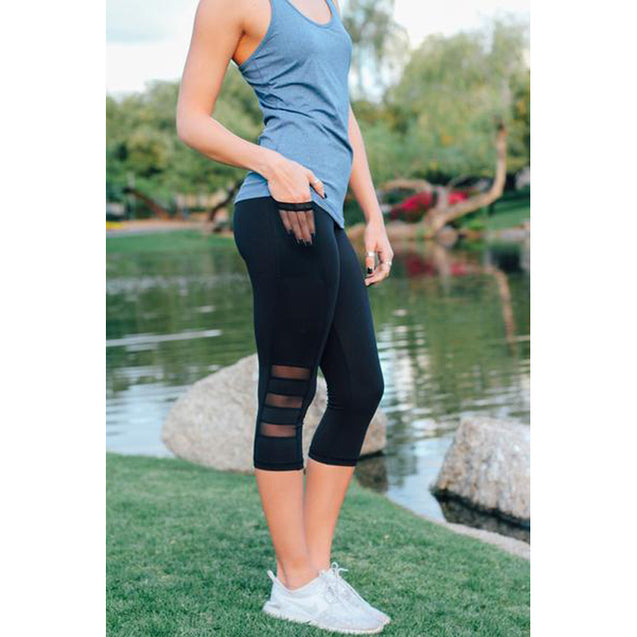 Comfortable Solid Black Mesh Capri With Pocket High Waisted Workout Leggings for Women - Aspire Activewear