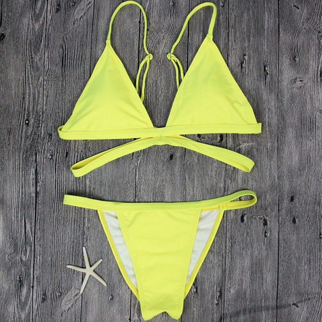 Classic Two-Piece Solid Yellow Strappy Cheeky Women's Bikini Swimsuit - Aspire Activewear