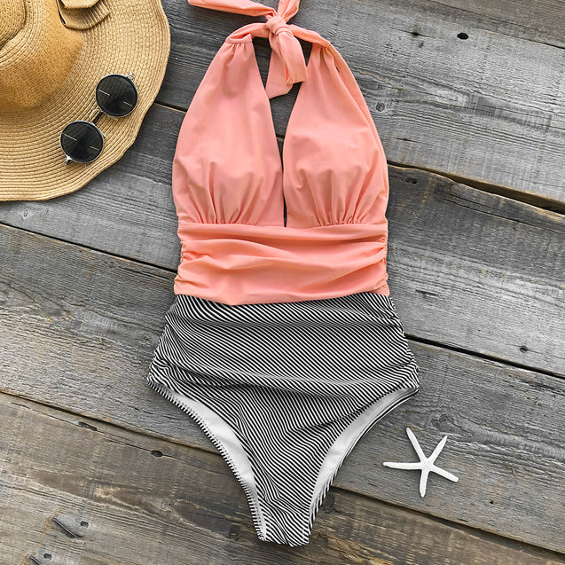 Low V-Cut Pink with Black and White Striped Bottom Push-Up and Padded Women's One-Piece Swimsuit - Aspire Activewear