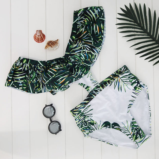 Low V-Cut Green and White Palm Print Halter Top Women's One-Piece Swimsuit - Aspire Activewear