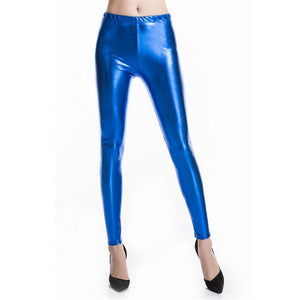 Shiny Electric Blue High Waisted Casual Leggings for Women - Aspire Activewear