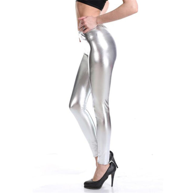 Shiny Pure Silver High Waisted Casual Leggings for Women - Aspire Activewear