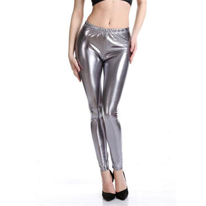 Shiny Electric Grey High Waisted Casual Leggings for Women - Aspire Activewear