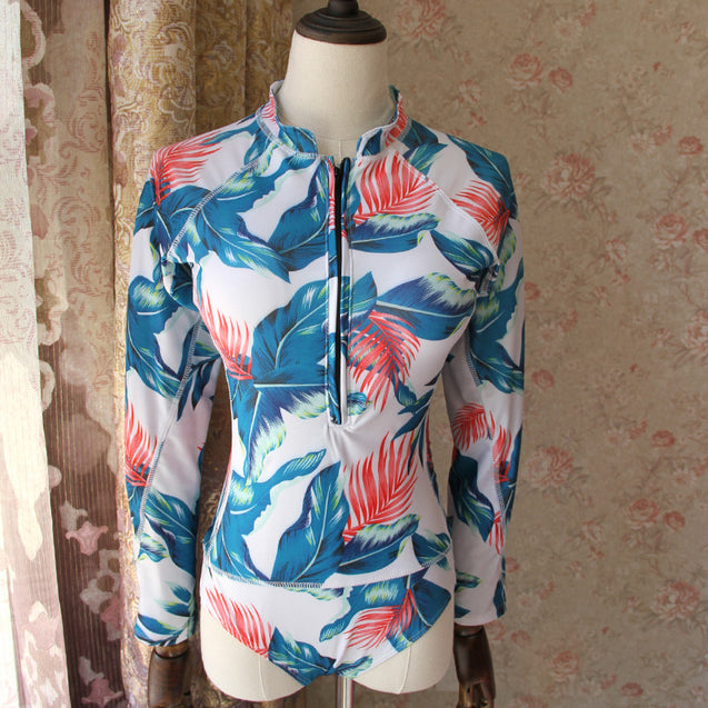 Long Sleeve Blue White and Pink Floral Print Surfing Women's One-Piece Swimsuit - Aspire Activewear