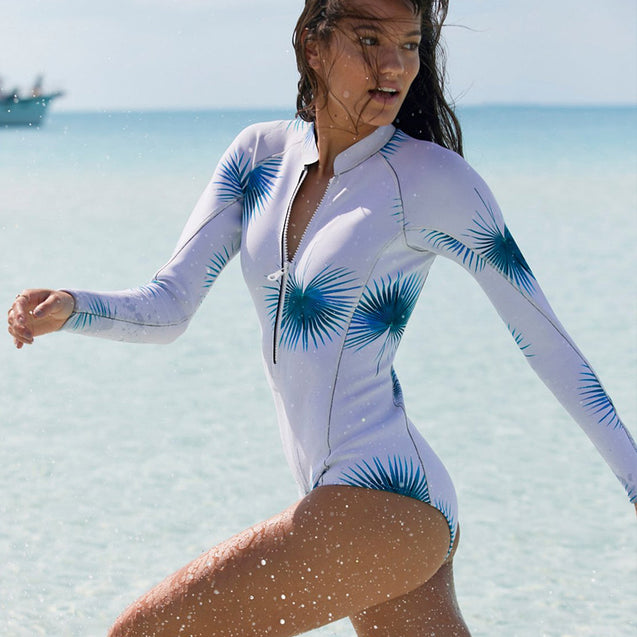 Long Sleeve White with Blue Floral Print Surfing Women's One-Piece Swimsuit - Aspire Activewear