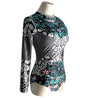 Unique Long Sleeve Green and Grey Floral Print Surfing Women's One-Piece Swimsuit - Aspire Activewear