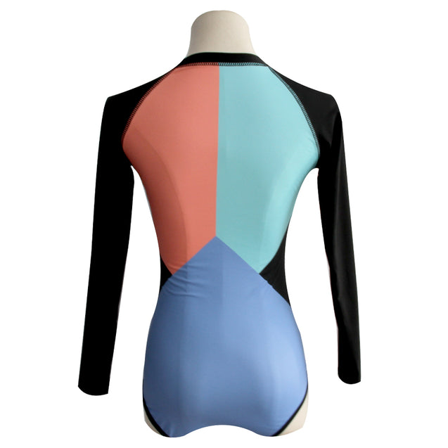 Long Sleeve Teal Peach Blue and Black Surfing Women's One-Piece Swimsuit - Aspire Activewear
