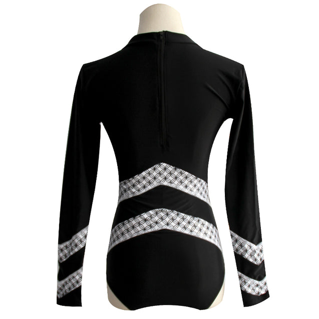 Long Sleeve Black and White Strip Design Surfing Women's One-Piece Swimsuit - Aspire Activewear