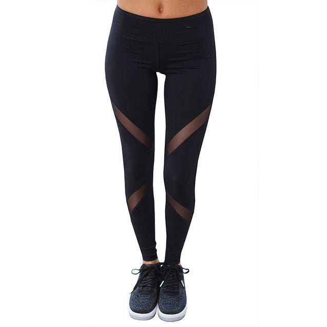 Sport Black Criss Cross Mesh High Waisted Workout Leggings for Women - Aspire Activewear