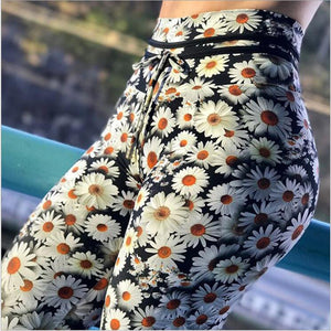 Classy Daisy Flower Printed Tummy Control High Waisted Casual Leggings for Women - Aspire Activewear
