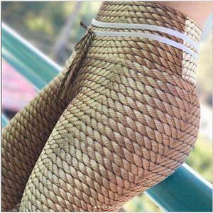 Alluring Light Brown Rope Printed Tummy Control High Waisted Casual Leggings for Women - Aspire Activewear
