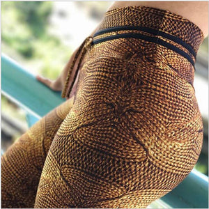 Inviting Dark Brown Rope Printed Tummy Control High Waisted Casual Leggings for Women - Aspire Activewear