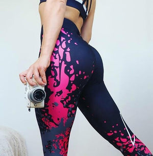 Engaging Pink and Blue Paint Printed Form Fitting High Waisted Workout Leggings for Women - Aspire Activewear