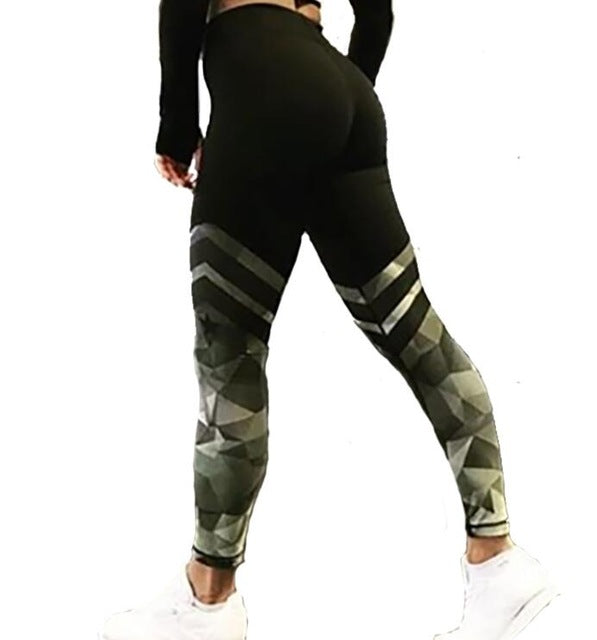 New Black and Green Geometric Printed Breathable High Waisted Workout Leggings for Women - Aspire Activewear