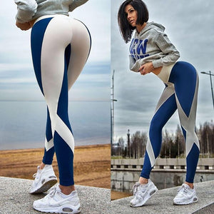 Elegant Blue and Red Lined Printed Breathable High Waisted Workout Leggings for Women - Aspire Activewear