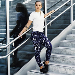 New Blue and White Printed Breathable High Waisted Workout Leggings for Women - Aspire Activewear