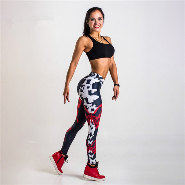 Butterfly Printed High Waisted Workout Leggings - Aspire Activewear