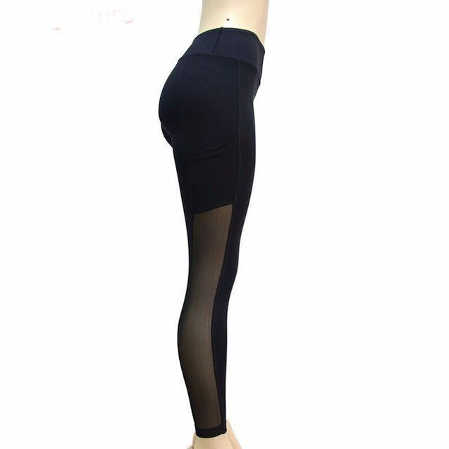 Cozy Black Mesh w/ Small Pocket Workout Leggings for Women - Aspire Activewear