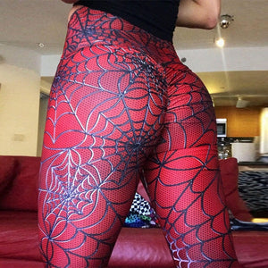 Amazing Red Spider Web Push Up High Waisted Workout Leggings for Women - Aspire Activewear