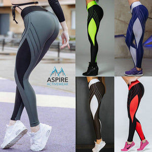 Sports Colorblock Patchwork Printed Lined High Waisted Workout Leggings for Women - Aspire Activewear