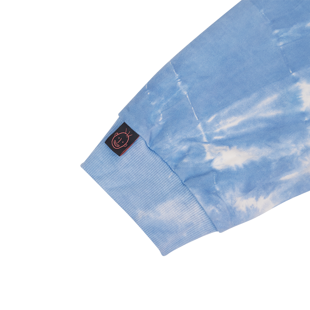 """STENCIL"" ON THE BLUE SKY TIE DYE HOODIE"