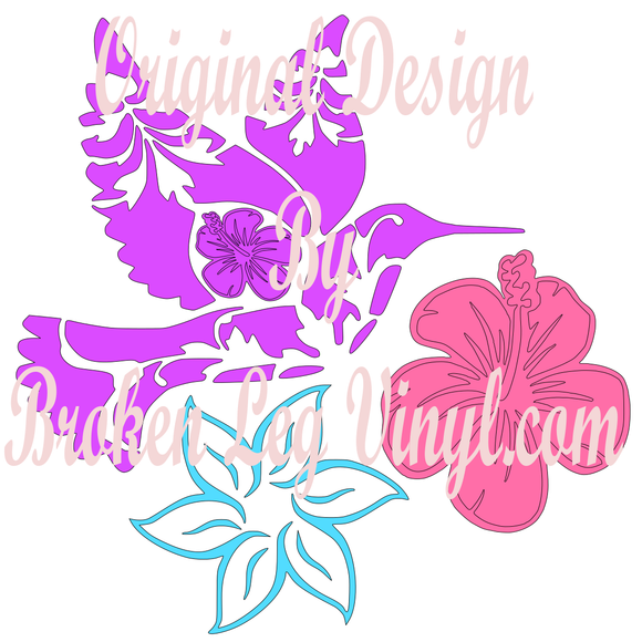 Hummingbird and flowers SVG