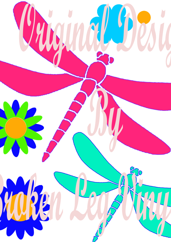 Dragonflies and Groovy Flowers
