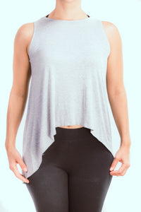 Heather Gray Casual Keyhole Top