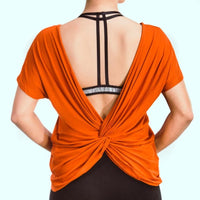 Loose Fit Short Sleeve Layered Backless Top
