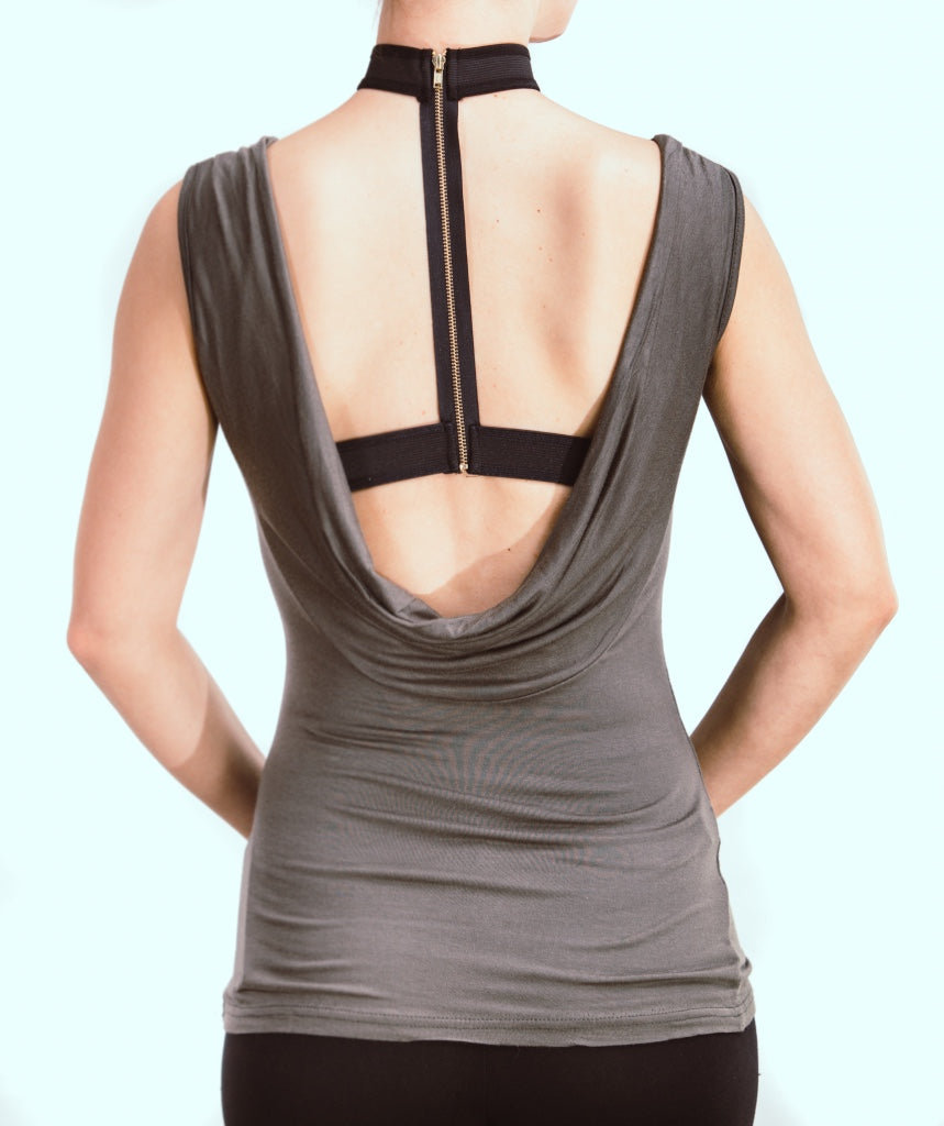 Solid Sleeveless Top With Open Back