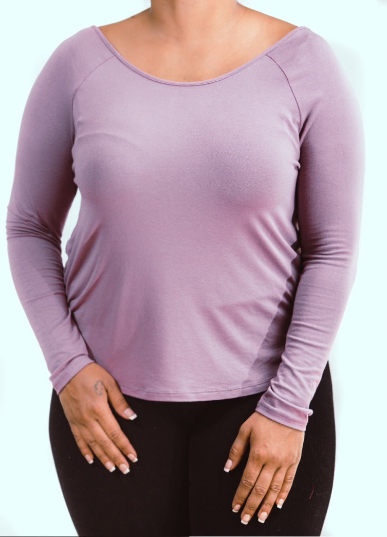 Mauve Pink Long Sleeve Criss Cross