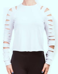 White Laser Cut Ladder Open Back Long Sleeve