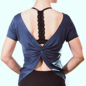 Navy Micro Open Cross Back