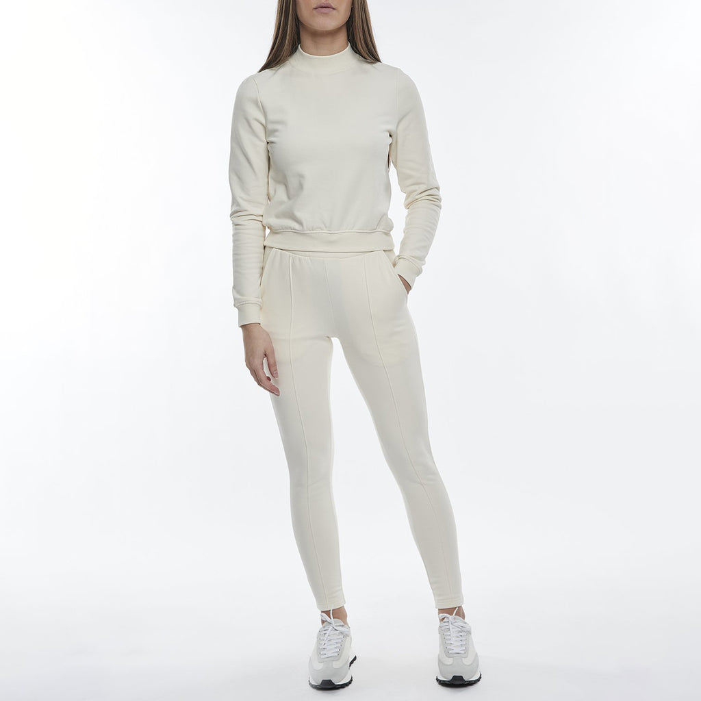 Womens Mock Neck Sweatshirt in Ecru
