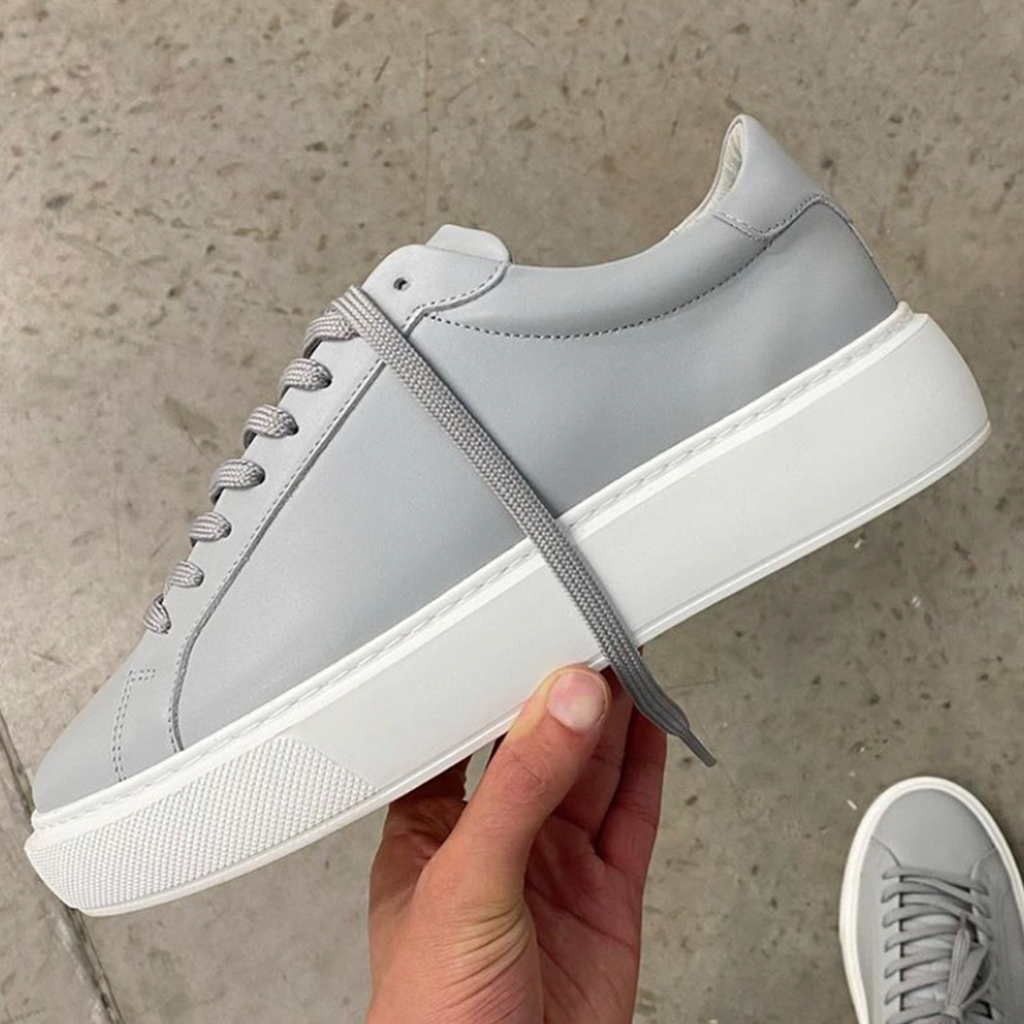 Essential Leather Trainer in Grey