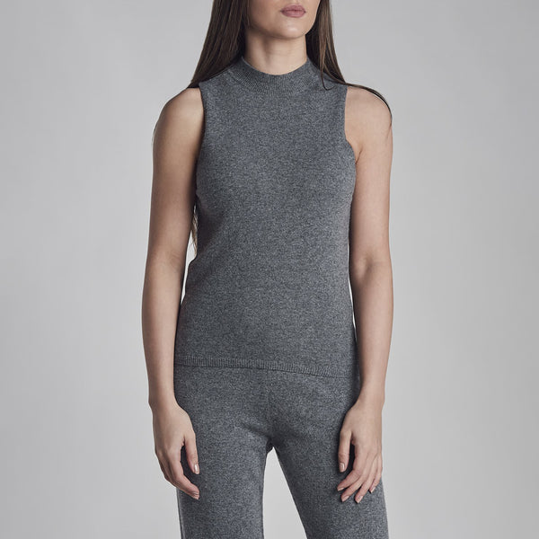 Womens Knitted Vest in Charcoal