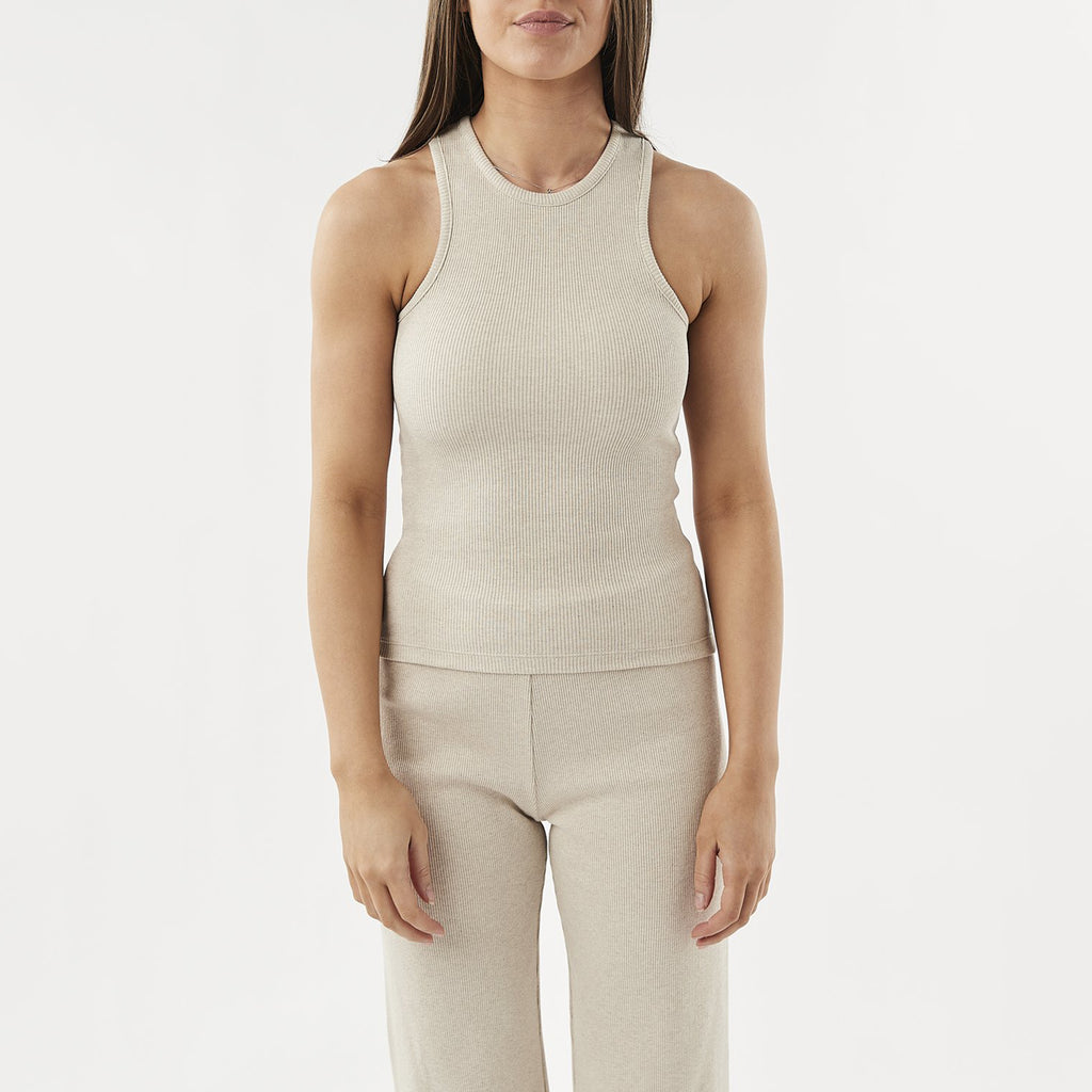 Womens Ribbed Racer Vest in Ecru