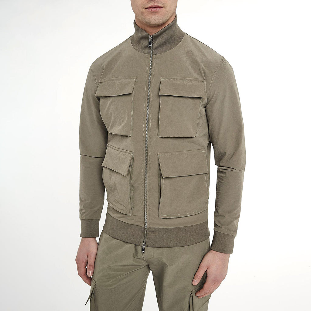 Utility Funnel Neck Jacket in Sand