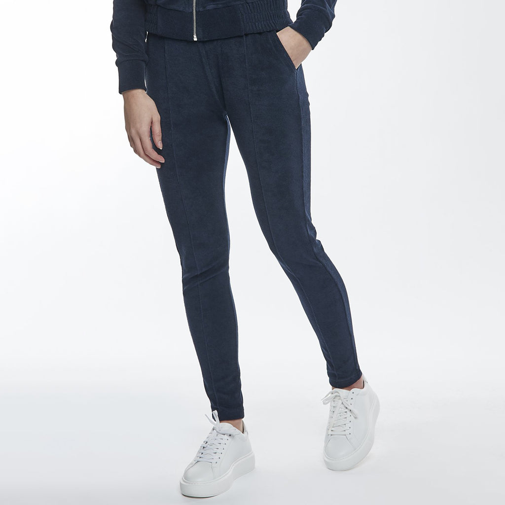 Womens Towelling Slim Fit Trouser in Navy