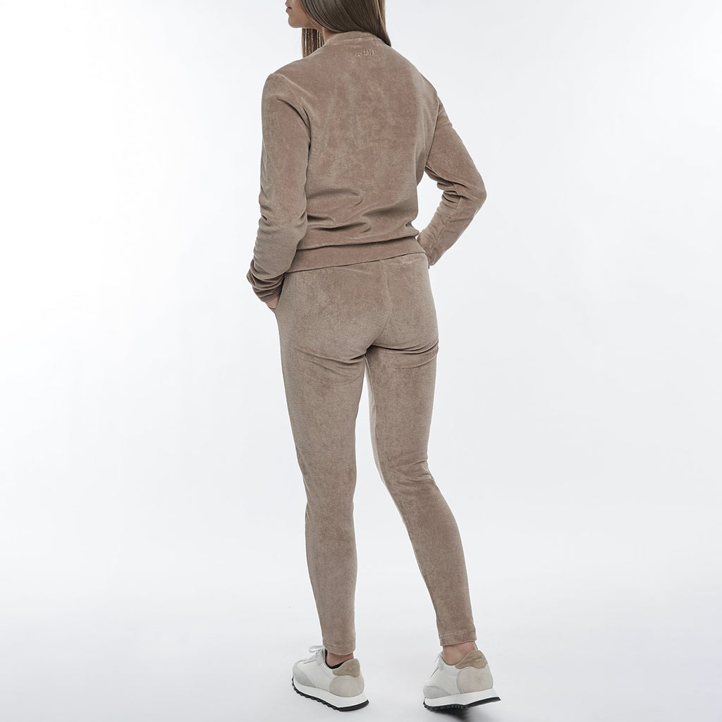 Womens Towelling Slim Fit Trouser in Taupe