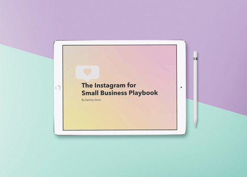 The Instagram for Small Business Playbook displayed on white iPad on purple and turquoise background