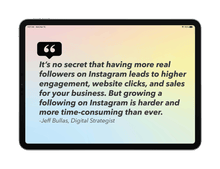 quote from jeff bullas digital strategist page from the instagram for small business playbook displayed on black ipad