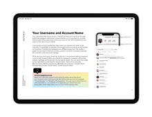 example page from the instagram for small business playbook on black ipad