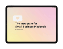 The Instagram for Small Business Playbook displayed on black iPad