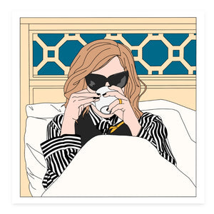Moira Drinking Coffee in Bed, Choose Sticker or Magnet