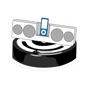 Parks and Rec DJ Roomba, Choose Sticker or Magnet