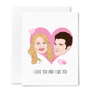 Leslie and Ben I Love You and I Like You Card